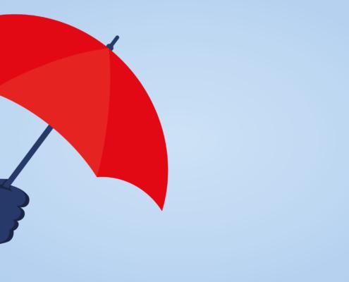 Schirm auf blauem Hintergrund versicherungen