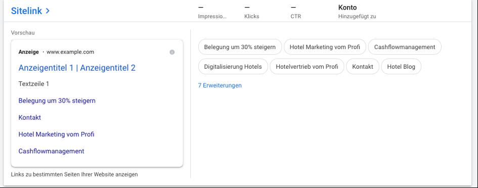 Erweiterungen Beispiel Google Ads