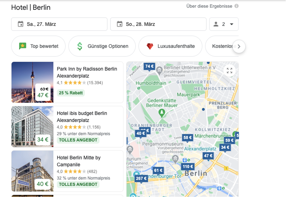 Google Travel Übersicht Screenshot